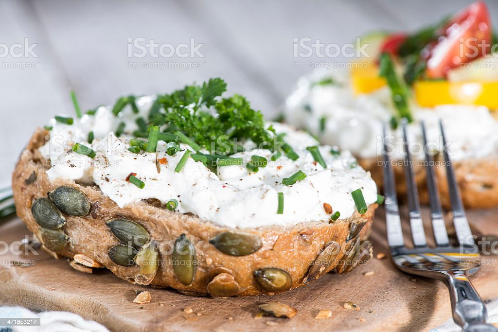 Curd with fresh Herbs royalty-free stock photo