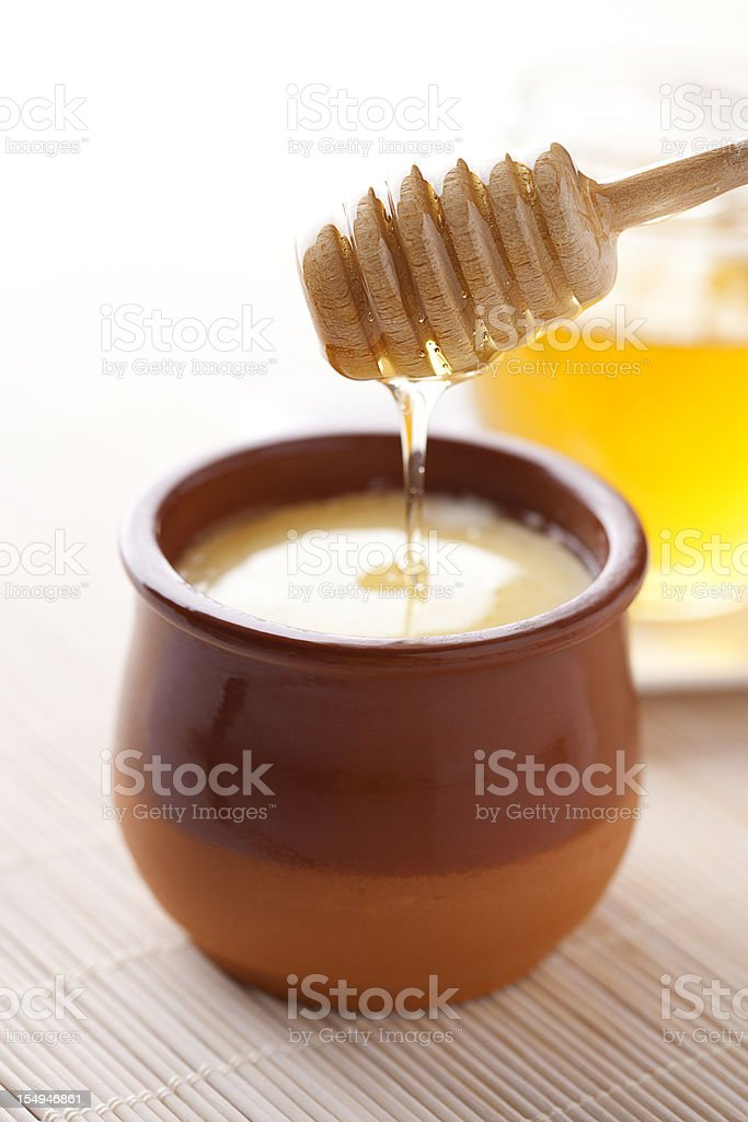 Curds and honey stock photo