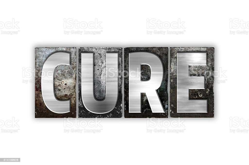 Cure Concept Isolated Metal Letterpress Type Stock Photo