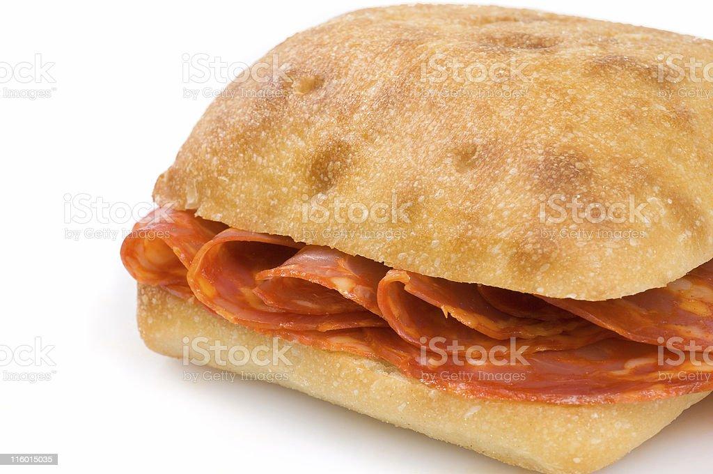 Cured chorizo sandwich (bocata dechorizo) royalty-free stock photo
