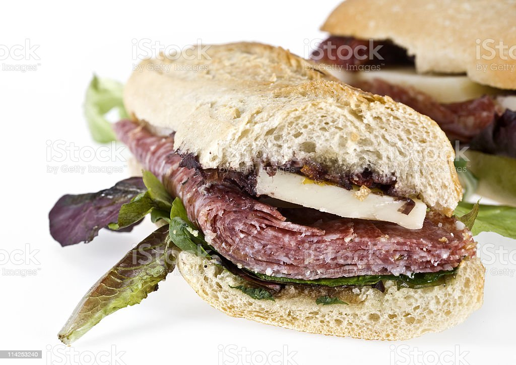 Cured Salami and cheese baguette sandwich stock photo