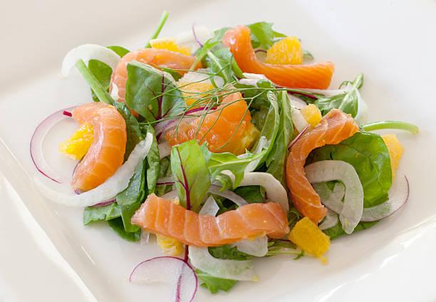 geräucherter lachs & salat mit fenchel und orangen - orangenscheiben trocknen stock-fotos und bilder