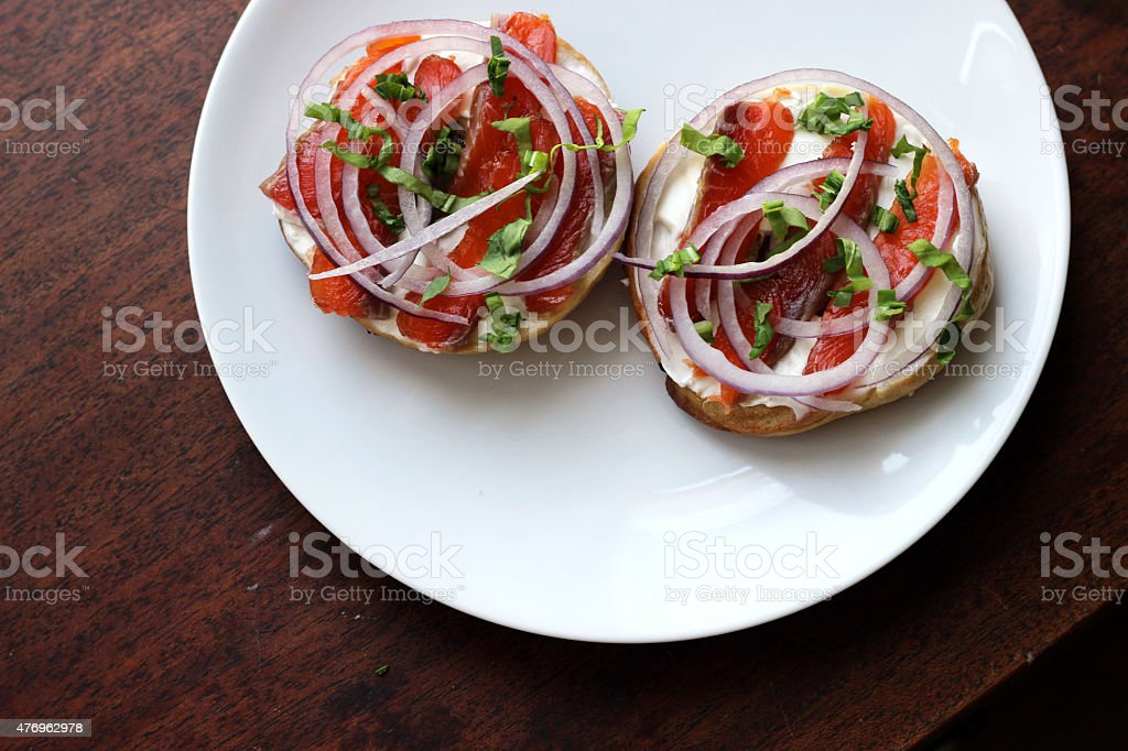 Cured Salmon with Bagels and Cream Cheese stock photo