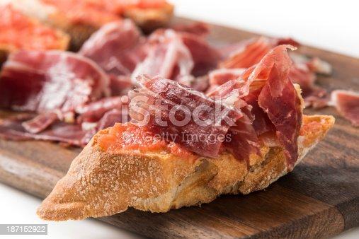 Cured Serrano Ham Canapes on white