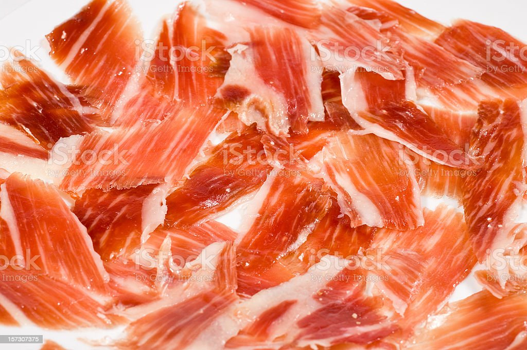 Cured Spanish Serrano Ham stock photo
