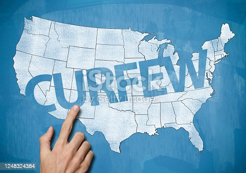 Curfew over map of USA / Blue chalk concept (Click for more)