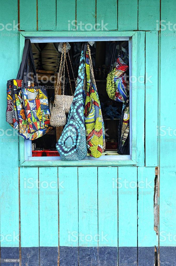 Curio goods in Kigali a shopfront window stock photo