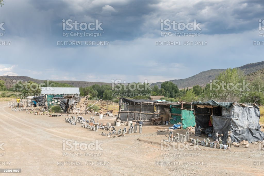 Curios stalls at the Owl House in Nieu-Betesda stock photo