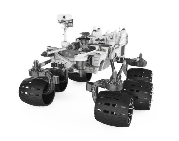 Curiosity Rover Isolated Curiosity Rover isolated on white background. 3D render rover stock pictures, royalty-free photos & images