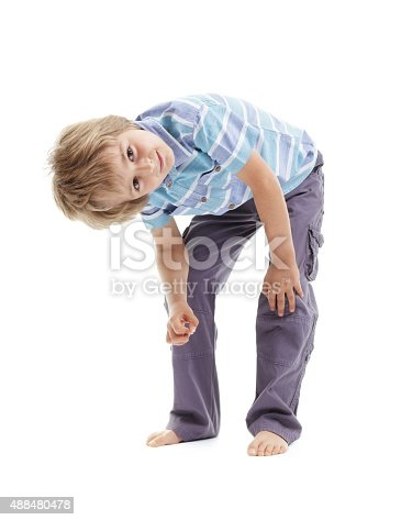 istock Curious and intrigued boy bending over 488480478