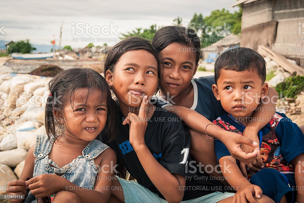 Curious Balinese Children stock photo