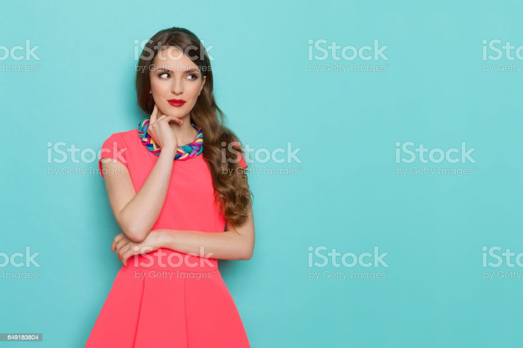 Curious Beautiful Woman Watching stock photo