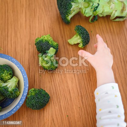 Curious Caucasian baby learning about broccoli and healthy eating.