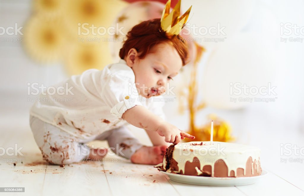 Strange Curious Funny Baby Boy Poking Finger In His First Birthday Cake Personalised Birthday Cards Petedlily Jamesorg