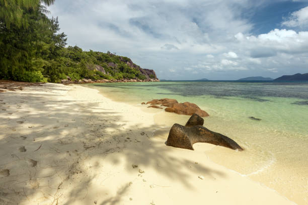 Curious Island in the Seychelles stock photo
