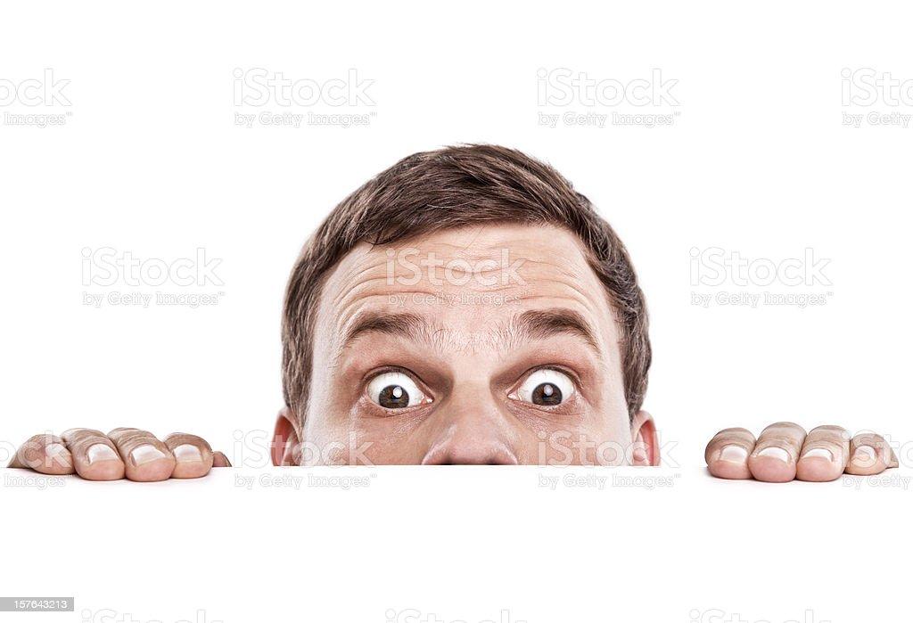 curious looking man stock photo