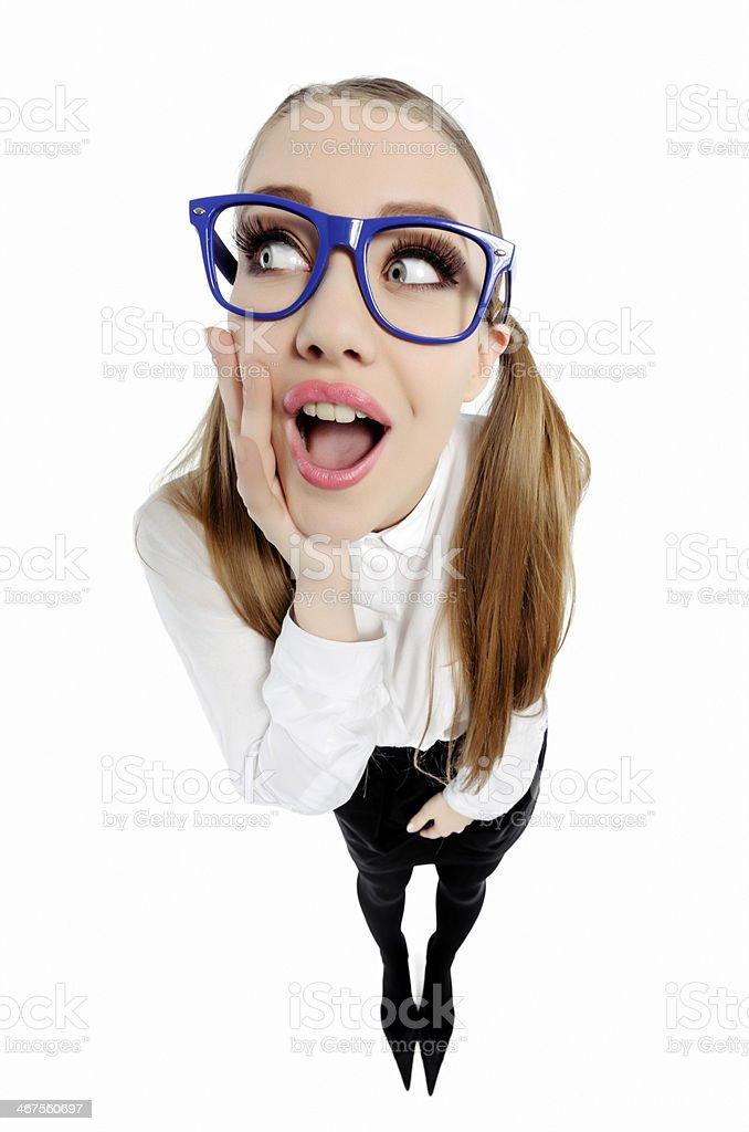 curious nerd woman royalty-free stock photo
