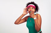 istock Curious shocked woman listening with hand to ear. 974654138