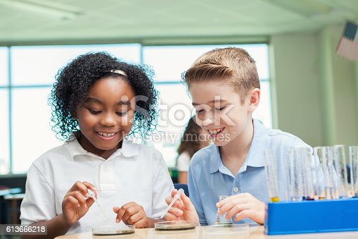 istock Curious STEM school friends work on science experiment 613666218