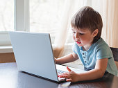 istock Curious toddler boy explores the laptop and presses buttons on computer keyboard. 1217963797