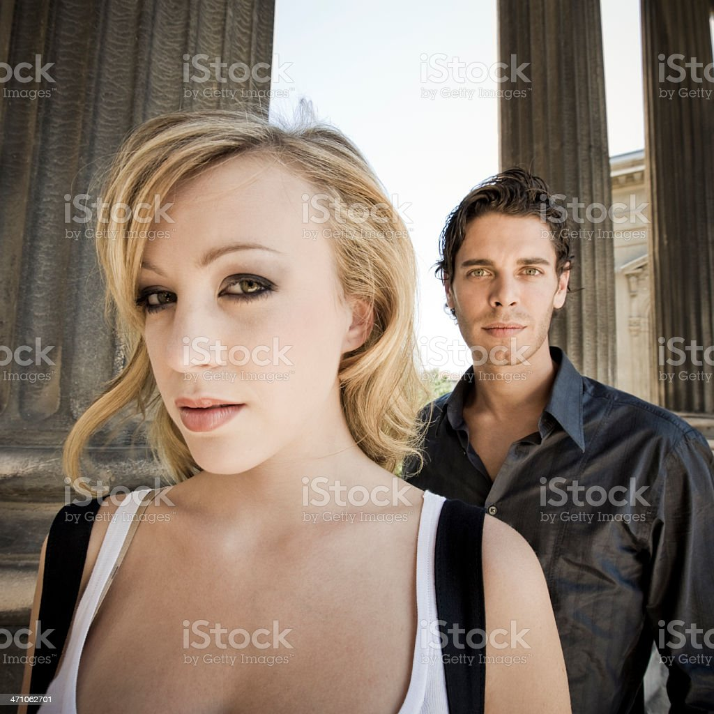 curious woman and man royalty-free stock photo