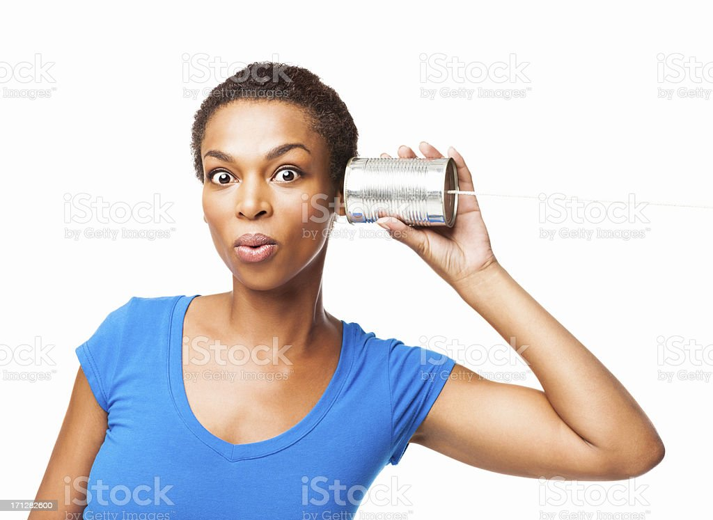 Curious Woman Listening To the Gossip - Isolated stock photo