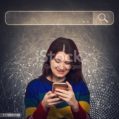 istock Curious woman using smartphone browsing network search bar with loupe to find useful information and data. Internet searching engines, modern technology and virtual life and networking concept. 1173531155