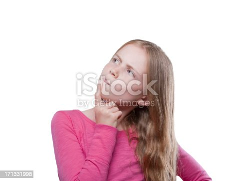 istock Curious young girl looking up 171331998
