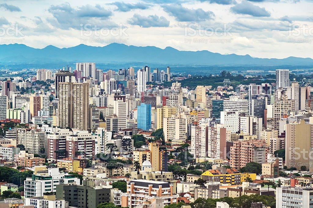Curitiba Cityscape, Parana State, Brazil stock photo