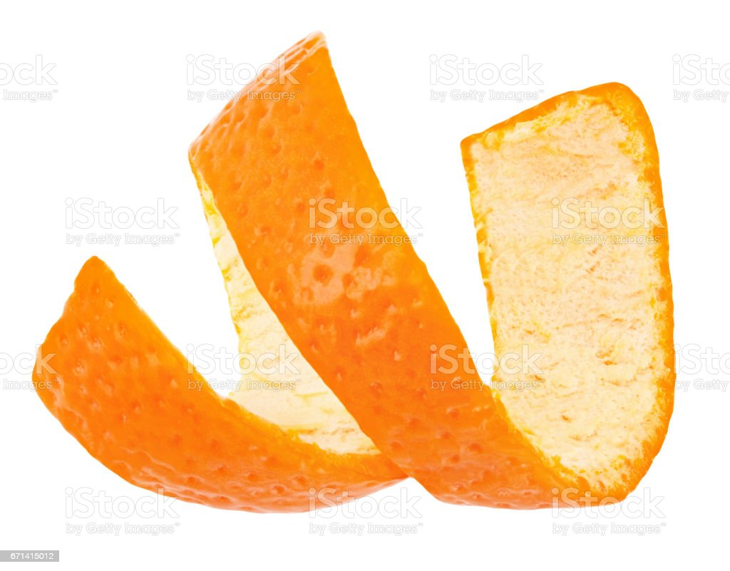 Curl mandarin peel isolated on white background stock photo