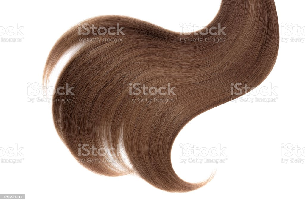 Curl of natural hair on a white background stock photo