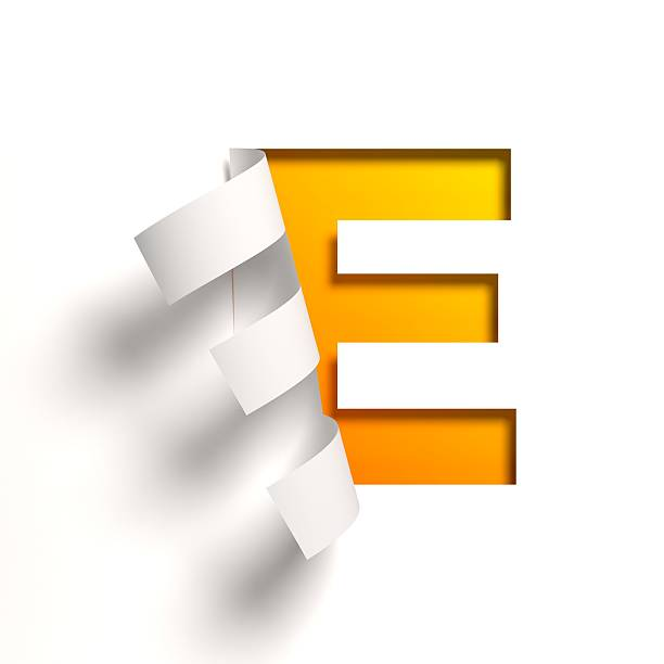 Curl paper font letter E stock photo