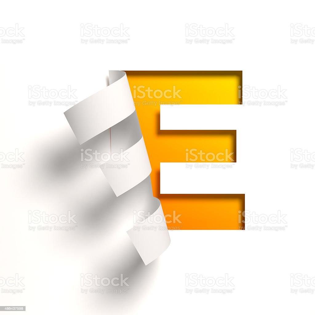 Curl Paper Font Letter E Stock Photo