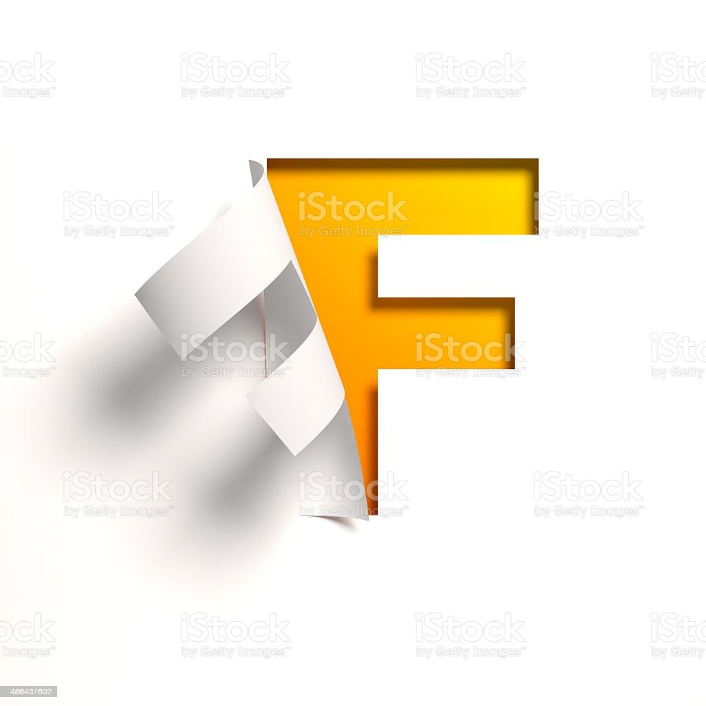 Curl paper font letter F stock photo