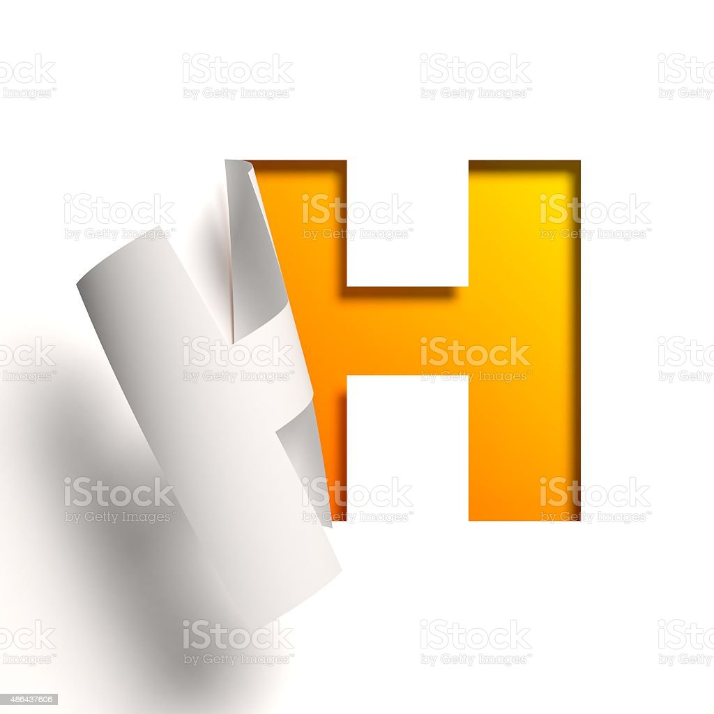 Curl paper font letter H stock photo