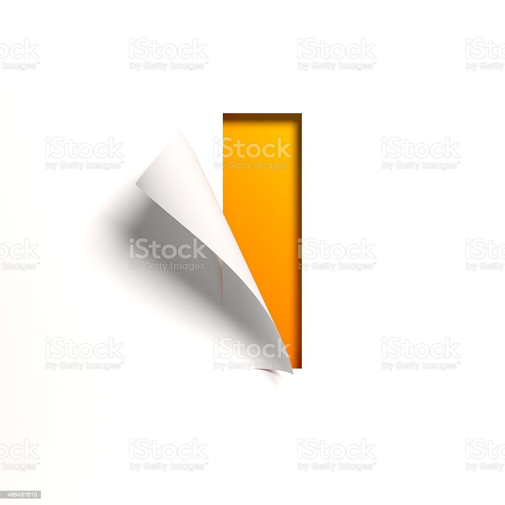 Curl paper font letter I stock photo