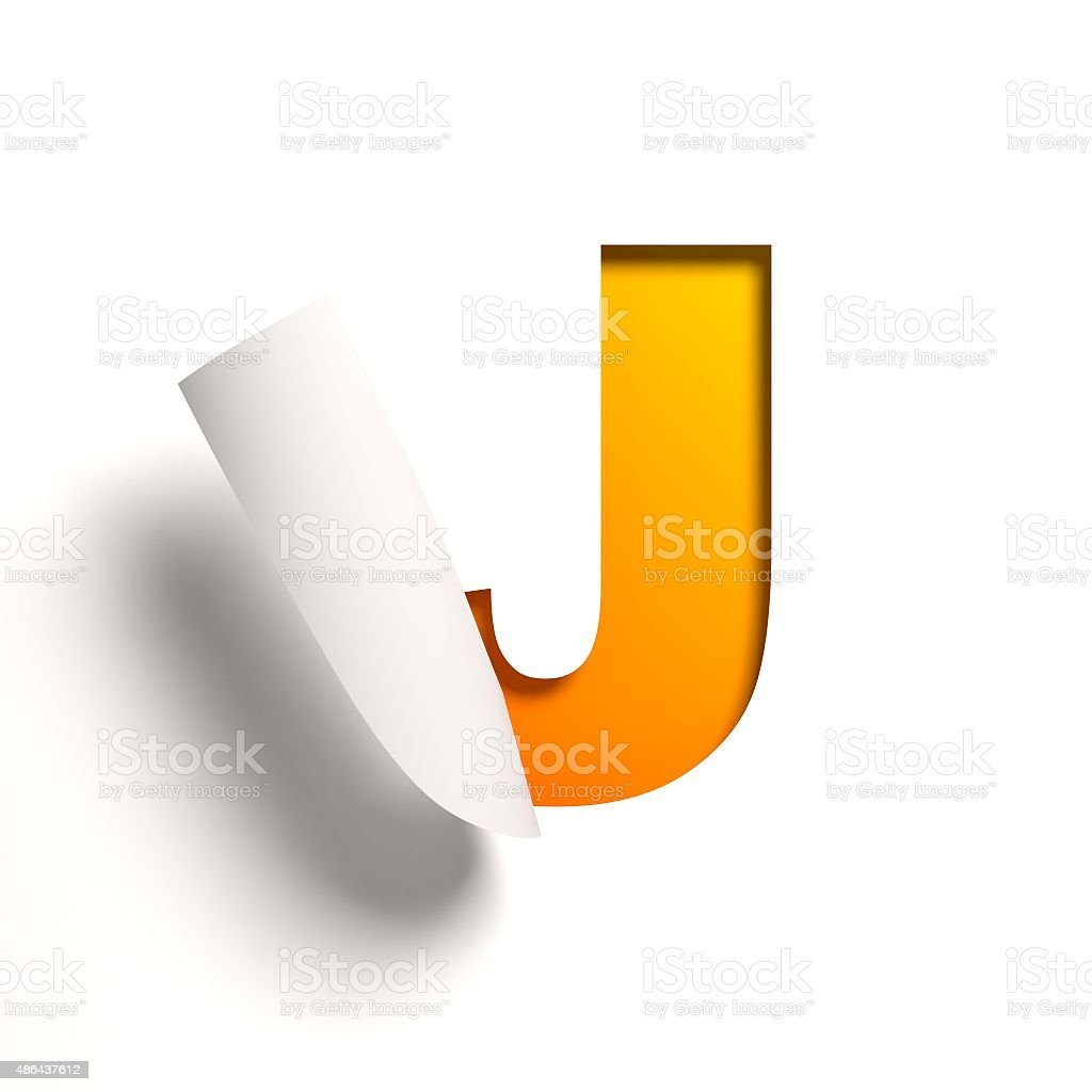 Curl paper font letter J stock photo