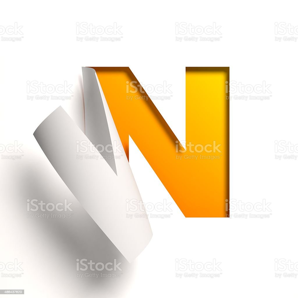 Curl paper font letter N stock photo