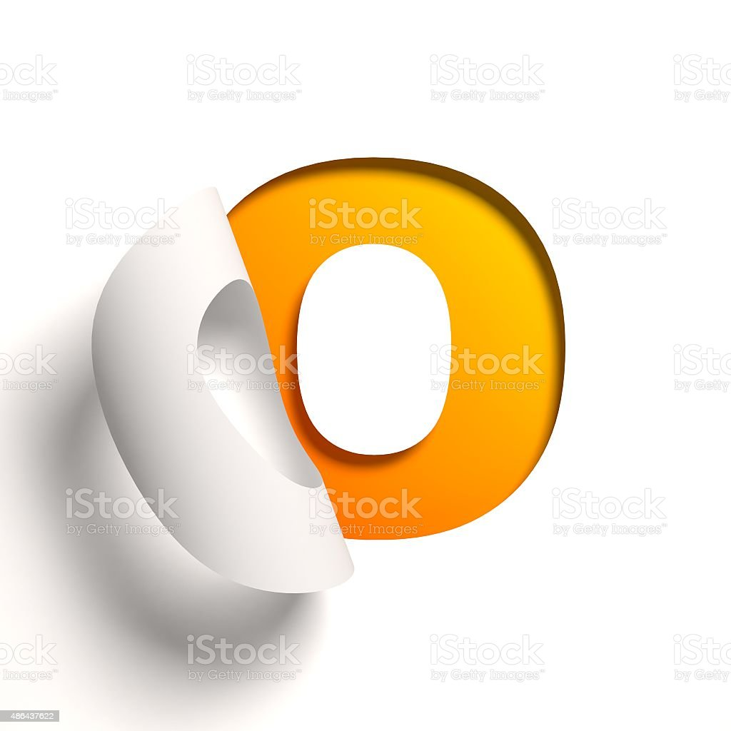 Curl paper font letter O stock photo