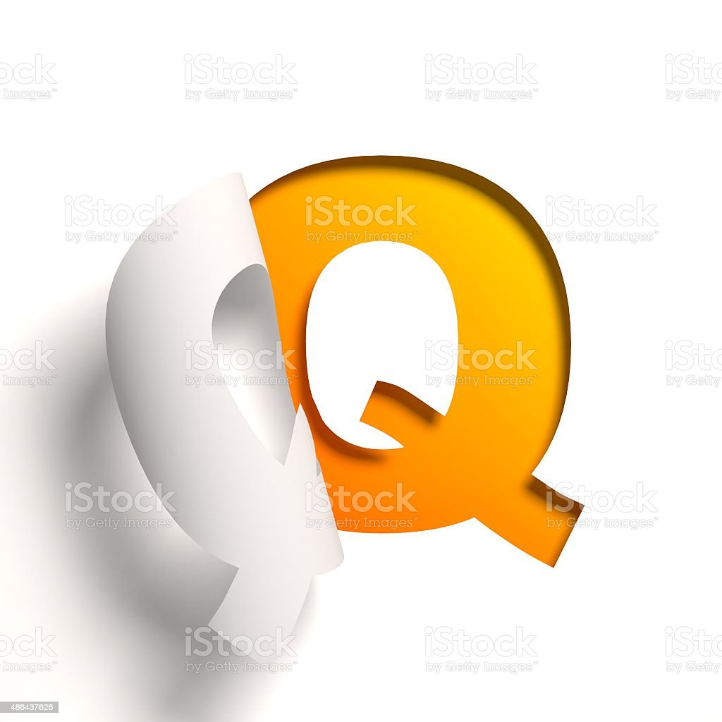 Curl paper font letter Q stock photo