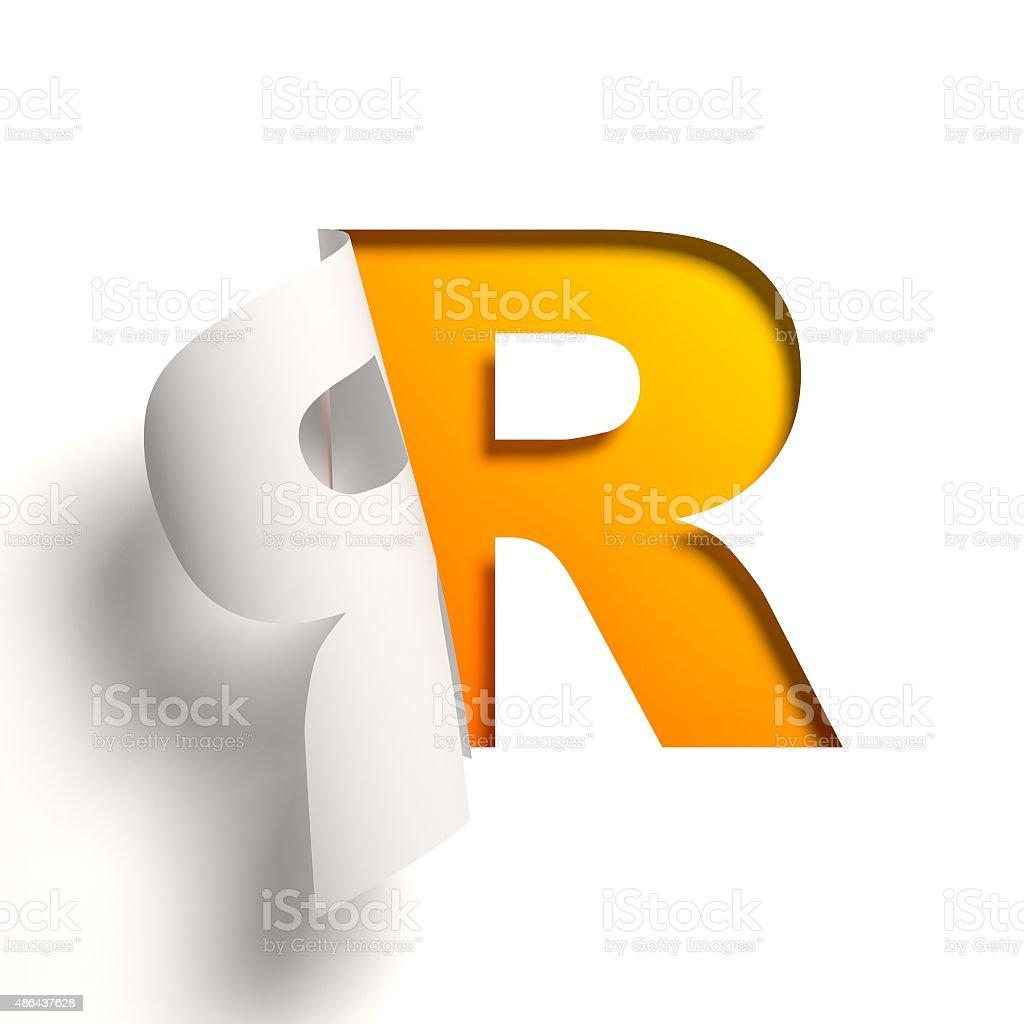 Curl paper font letter R stock photo