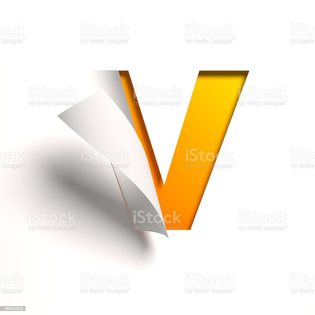 Flexión documento fuente letra V - foto de stock