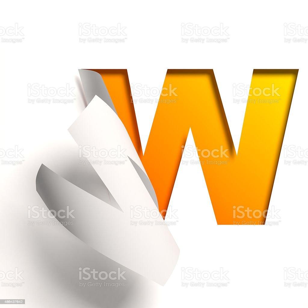 Curl paper font letter W stock photo
