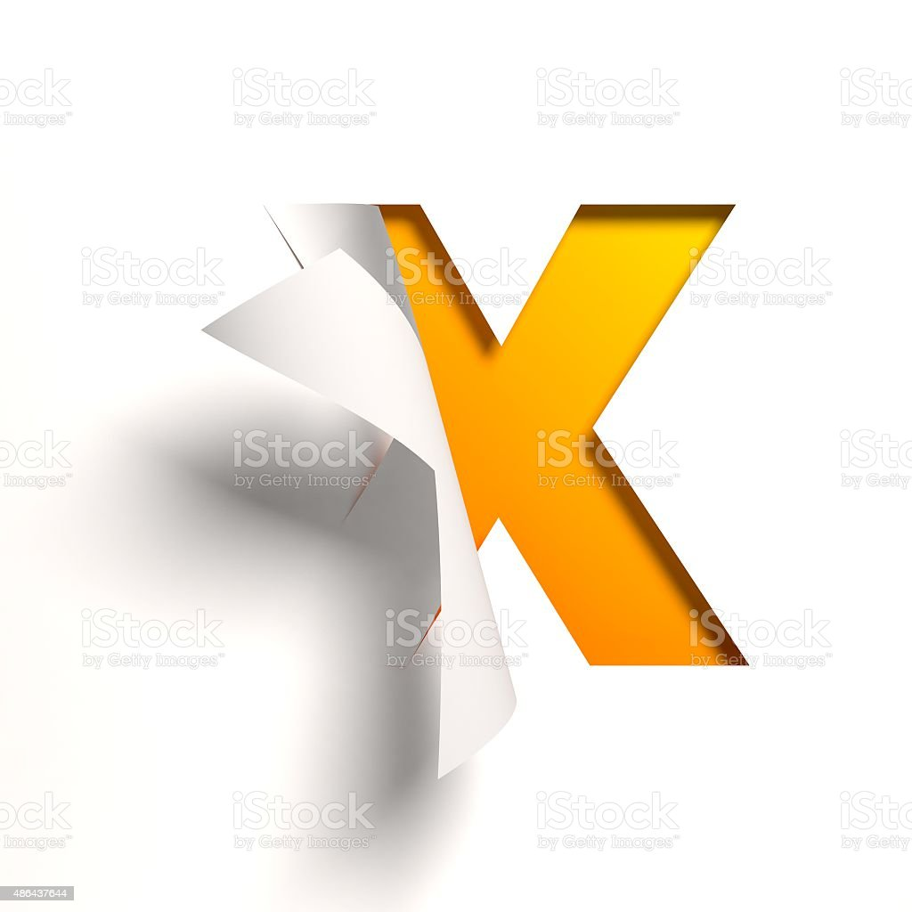 Curl paper font letter X stock photo