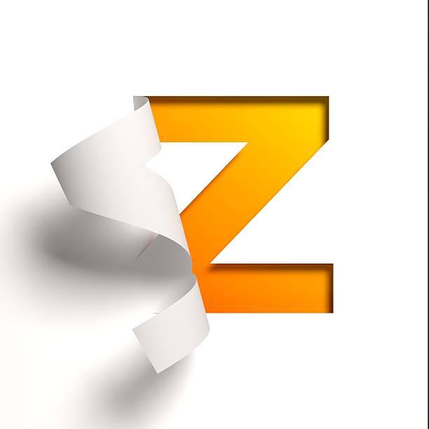 Curl paper font letter Z stock photo