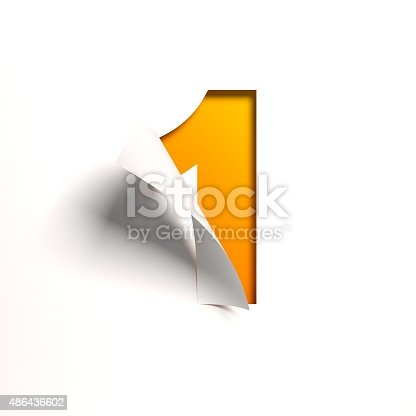 istock Curl paper font number 1 486436602