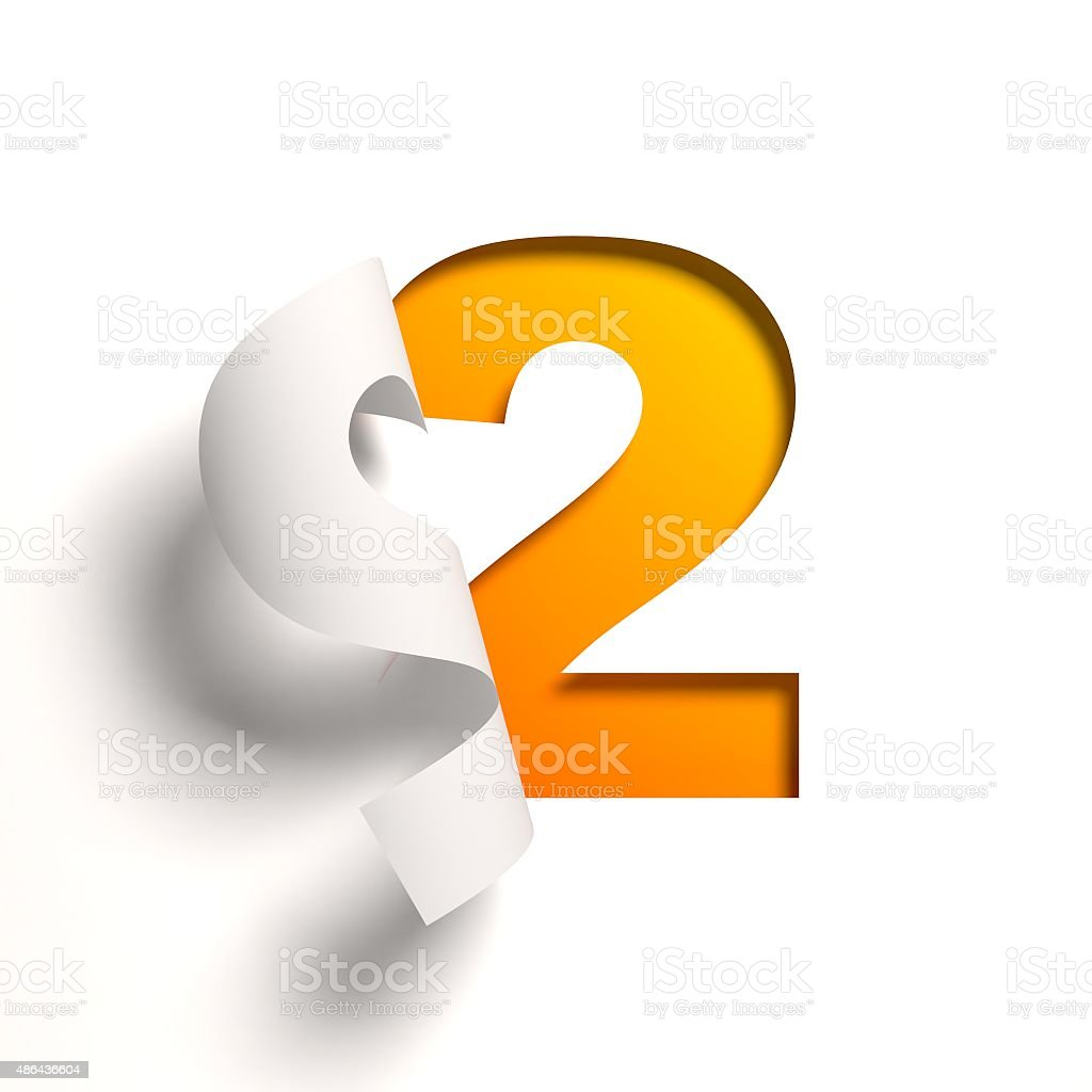Curl paper font number 2 stock photo