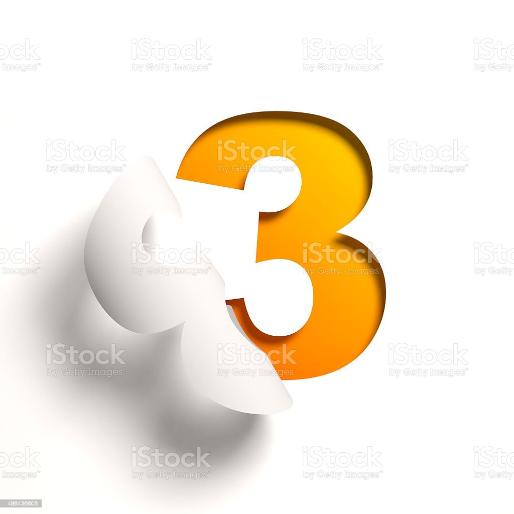 Curl paper font number 3 stock photo