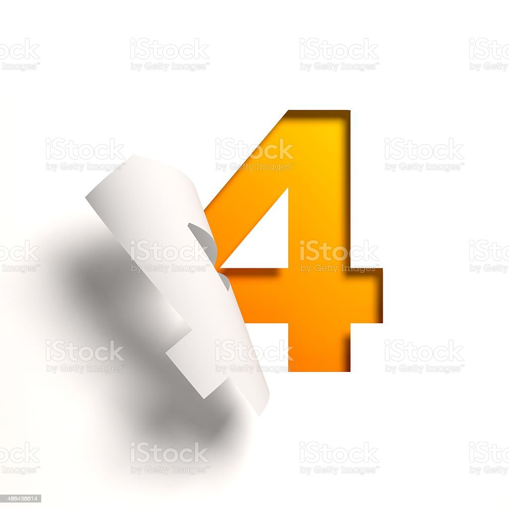 Curl paper font number 4 stock photo