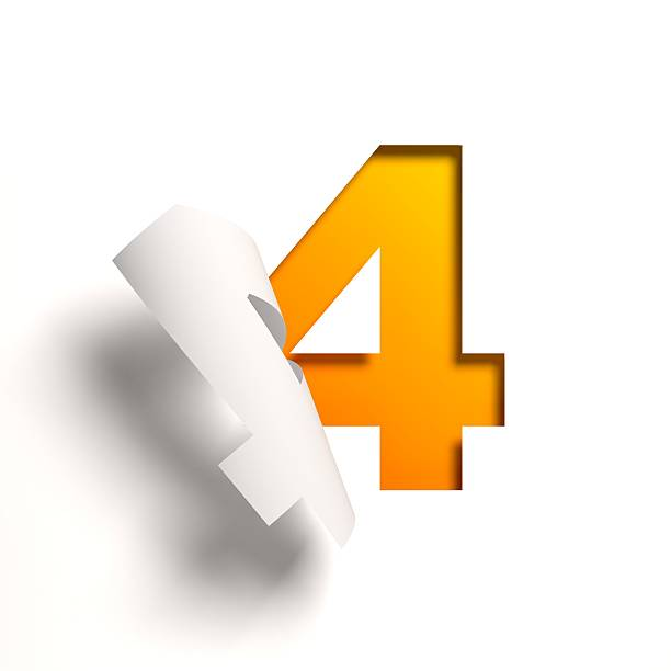 Curl paper font number 4 Curl paper font number 4 number 4 stock pictures, royalty-free photos & images